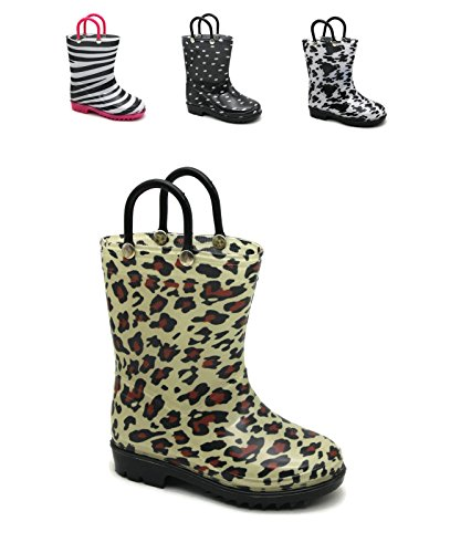 Storm Kidz Kids Girls Printed Rainboots, Leopard Little Kid (Leopard Rain Boots)