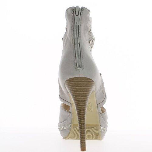 Grigio aperto scarpe tacchi 11cm e 3cm anteriore scarpa