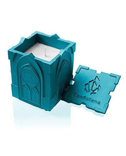 candellana Kerzen Beton Candle-Gothic Marine Blau, Duft: Lemongrass
