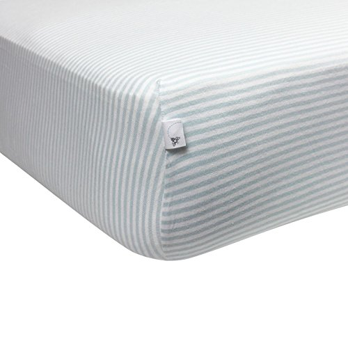 Burt's Bees Baby - Bee Essentials Stripe Fitted Crib Sheet, 100% Organic Crib Sheet for Standard Crib and Toddler Mattresses (Sky) from Burt's Bees Baby