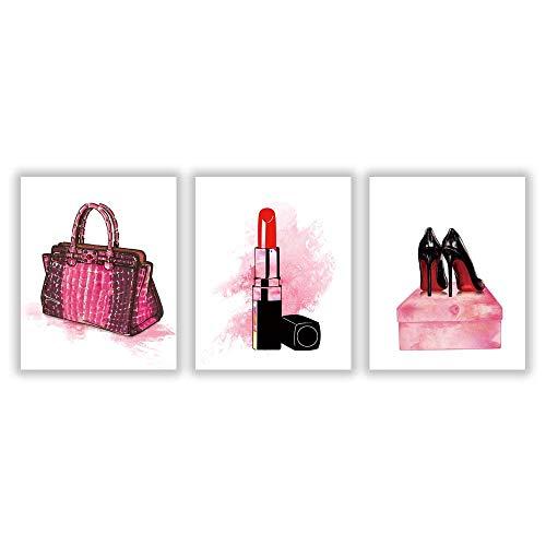 HLNIUC Modern Fashion Makeup Art Painting Poster Picture,Lipstick,High Heels,Shoulder Bags Canvas Print Makeup Art Home Decor Set of 3(8''x10'')