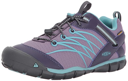 KEEN Unisex-Kids Chandler CNX WP Hiking Shoe, Montana Grape/Aqua Haze, 2 Youth US Big - Fashion Chandler