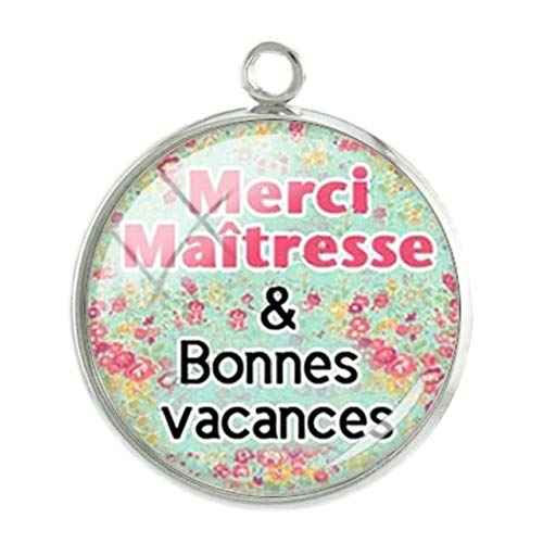 Pendants - 1Pc French Merci Seris Pendants Charms Teachers Mother Personalized Handmade 20Mm Glass Cabochon Dome Newest Jewelry - Ct312