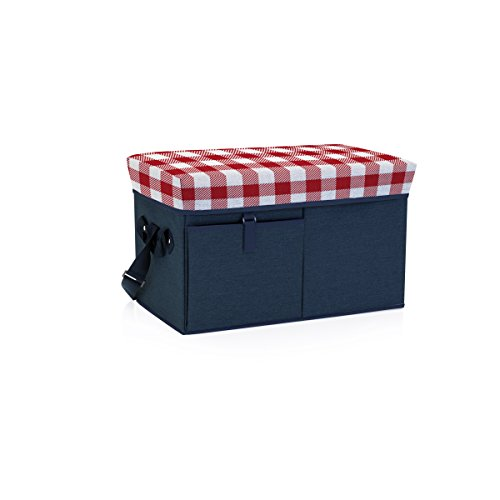 - ONIVA - a Picnic Time Brand Ottoman Insulated Collapsible Cooler/Picnic Tote, Navy with Red Gingham