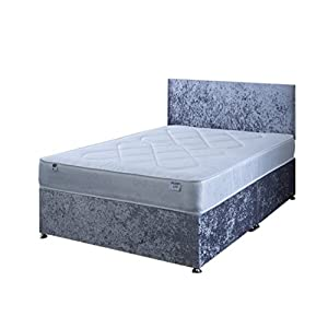 4FT6 Double Silver Crushed Velvet Divan Bed Set Including Deep Quilt Mattress And Headboard