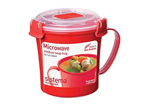 Bowl Quick Clip (Sistema Microwave Cookware Soup Mug, Medium, 22.1 Ounce/ 2.8 Cup, Red)