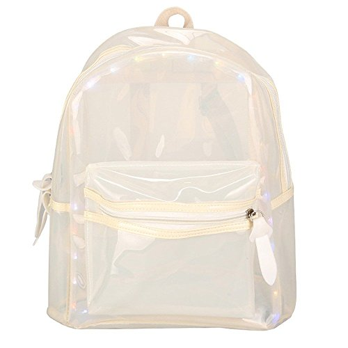Fashion Perspective Backpack LED Light Glitter Jelly For Women Teen Girls Transparent Waterproof Transparent Backpack Electronic Bag (White, 24cm13cm30cm) by Luca-backpack