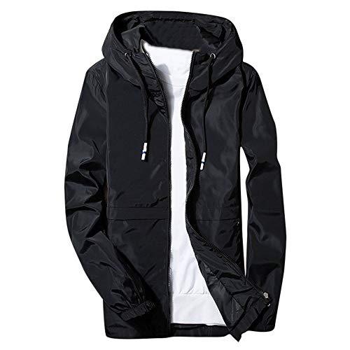 (Gallity Men's Winter Hoodie Softshell Track Jacket Patchwork Waterproof Windproof Outdoor Coat (4XL, Black))