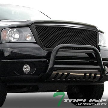 Ford F150 Hood Scoops - Topline Autopart Matte Black Mesh Front Hood Bumper Grill Grille ABS For 04-08 Ford F150