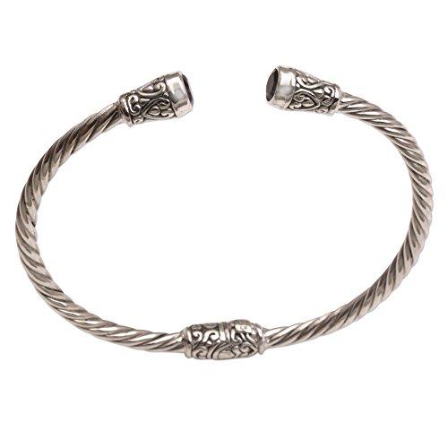 Silver Sterling Spiral Bracelet (NOVICA Amethyst End Cap .925 Sterling Silver Spiral Hinged Cuff Bracelet 'Spiral Temple')