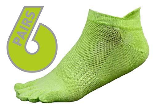 (EdLand Five Toe Socks 6 Pack - Toes Comfortable Socks for Athletic, Running, Walking, Yoga (Green Full))