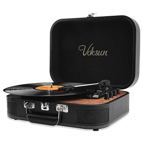 Voksun Record Player, Bluetooth Turntable with Built-in Stereo Speakers, 3-Speed Nostalgic Suitcase LP Vinyl Player, Supports Vinyl to MP3 Recording, with AUX USB RCA Headphone Jack, Black