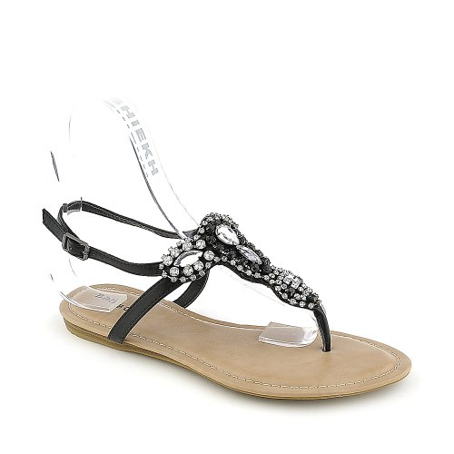 Bamboo Womens Steno-92 Sandal - Black Size 5.5