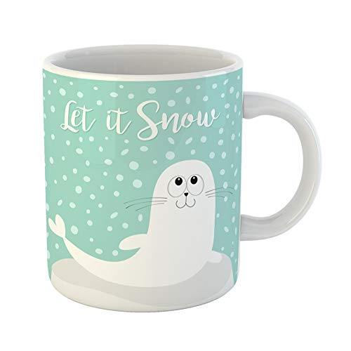 Emvency Coffee Tea Mug Gift 11 Ounces Funny Ceramic Let It Snow White Sea Lion Harp Seal Pup Lying on Iceberg Ice Cute Cartoon Gifts For Family Friends Coworkers Boss ()
