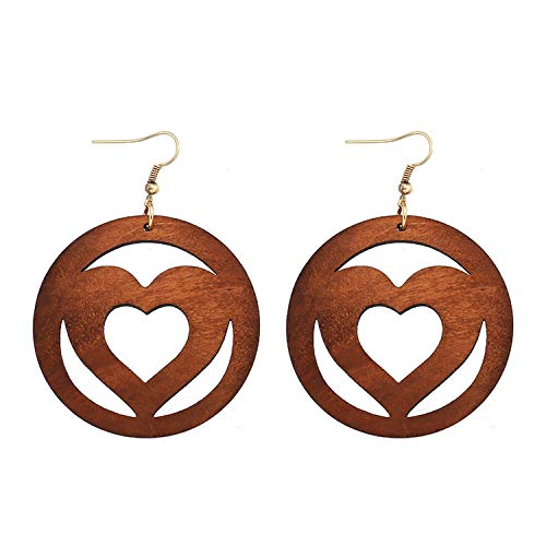 Design Natural Wooden Round Hollow Out Sweet Heart Pendant for African Women Jewelry Earrings Gifts,green