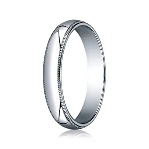 Womens 10K White Gold, 4.0mm Traditional Dome Oval Ring with Milgrain
