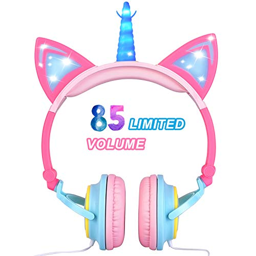 Glowing Unicorn Kids Headphones for Girls Boys – Cat Ear LED Headphones Light Up Wired Adjustable Foldable 85dB Volume…