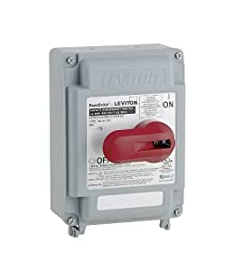 Leviton DS30-AX 30 Amp, 600 Volt, Non-Fused PowerSwitch Safety Disconnect Switch, 3 Pole, IP67, Watertight, Gray