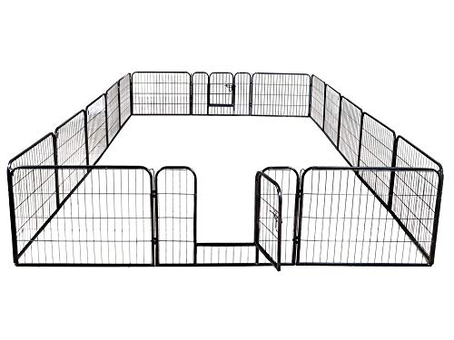 16 Panels Dog Puppy Cat Pet Playpen Metal Fence Heavy Duty Pet Pen Exercise Outdoor Indoor Kennel Crate (40''Height) ()