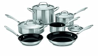CUISINART GGT-10 GreenGourmet Tri-Ply Stainless 10-Piece Cookware Set, Silver (B004YV5W6S) | Amazon Products