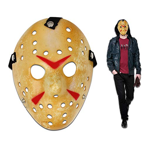 Edealing Jason Voorhees Freddy Hockey Festival Cosplay Halloween Masquerade Party Mask (Yellow)