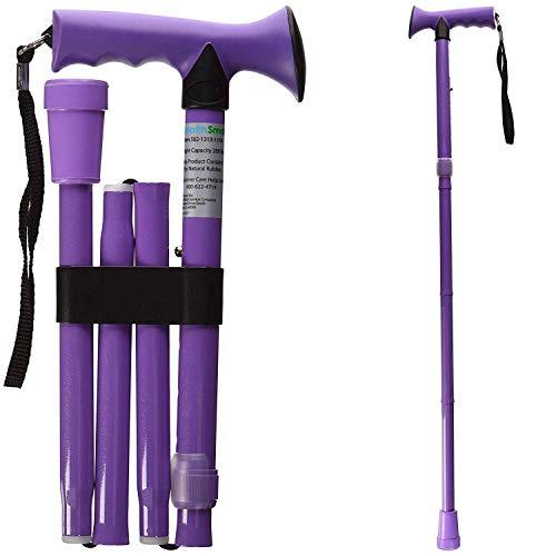 HealthSmart Folding Walking Stick, Soft Comfort Grip