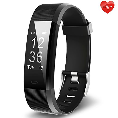 Fitness Tracker YuanGuo YG3 Plus Activity Tracker Sports Watch Smart Bracelet Pedometer Fitness Watch with Heart Rate Monitor/GPS/Step Counter/Sleep Monitor for Android and IOS (Black)