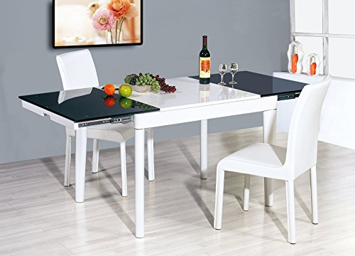 (White Extendable Dining Table, Dark Tempered)