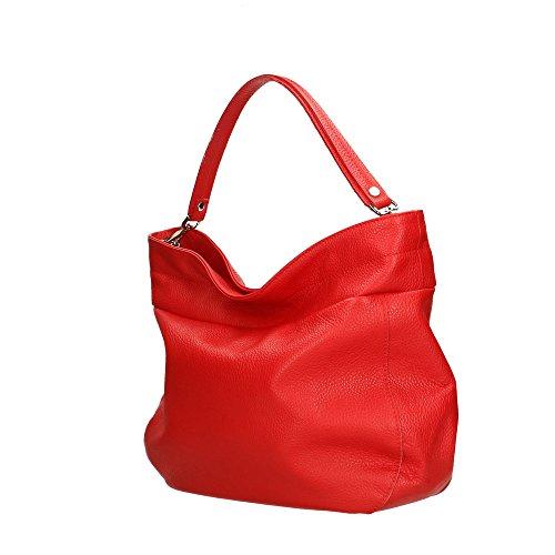 37x29x12 Bandolera Rojo Cm En Aren Fabricada Italia Genuina Piel Bolso Mujer ZwpB5v8q