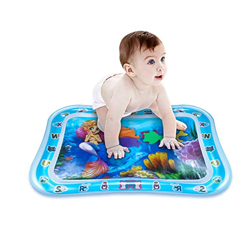 (Baby Water Play Mat - Tummy Time Inflatable Premium Water Pad Indoor & Outdoor Leakproof Activity Center for Kids Stimulation and Growth (Mermaid))