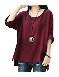 Domple Women's Casual Solid Tunic Plus Size Asymmetrical Tunic Blouse Top Shirts