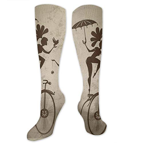 Compression Socks,Silhouette Circus Performers As Magician Doing Card