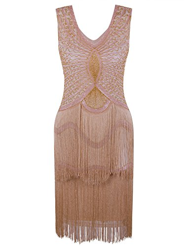(Vijiv Women's 1920s Gatsby Inspired Dresses Beaded Cocktail 20s Themed Party Flapper Fringe Dress Apricot Gold)