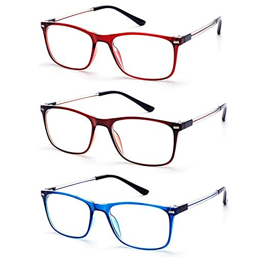 EFE Reading Glasses for Men and Women, 3 Pack Fashion Wayfarer Style Thin Eyewear with case ()