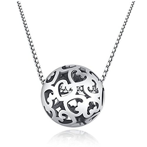 Dolland Silver Hollow Bead Lucky Beads with Silver Chain Necklace for Women Charm Jewelry - Hollow Bead Chain