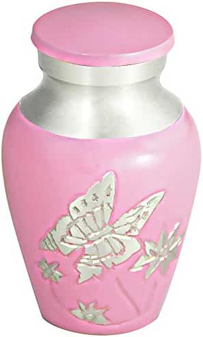 Keepsake Cremation Urn by Meilinxu- Brass Mini Funeral Urns for Human Ashes Adult- Hand Engraved -Fits a Small Amount of Cremated Remains- Display Burial Urn at Home or Office (Pink Butterfly Baby Urn
