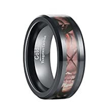 GOLDAYS 8mm Mens Black Camo Hunting Camouflage Tungsten Ring Wedding Band Jungle Tree Inlay Finished