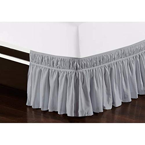 Cottingon Wrap Around Elastic Bed Skirt,Three Sides Fabric, Solid, Easy On/Easy Off Dust Ruffled Bed Skirts,Dust Ruffle Wrap Around Style,Ruffled Wrap Bed Skirts(Silver Grey - King/Cal.King_16' Drop