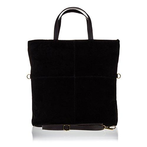 FIRENZE ARTEGIANI.Bolso shopping bag de mujer piel auténtica.Bolso mujer cuero genuino acabado GAMUZA. MADE IN ITALY. VERA PELLE ITALIANA. 35x40x10 cm. Color: GRIS Negro