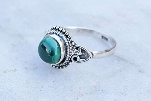 925 Sterling Silver Green Malachite Ring Size US 7 Malachite Stone Gemstone Statement Ring Gift Jewellery For Girl Women
