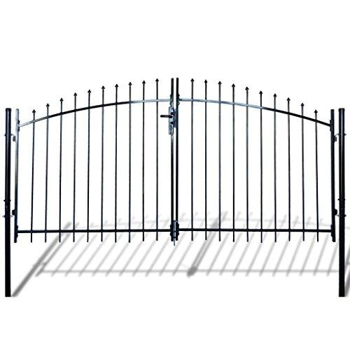 - Festnight Outdoor Double Door Fence Gate with Spear Top and 3 Keys 10' x 5' Black Heavy Duty Steel Door Fence Practical Barrier Garden Gate