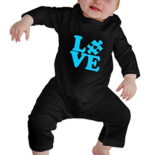 Autism Awareness - Love Puzzle Piece Long Sleeve Infant Bodysuit 6-24 Months Baby Bodysuit Black