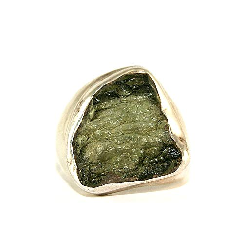 Moldavite Ring - Raw Rough - Polished Sterling Silver - R1807 by Gifts and Guidance