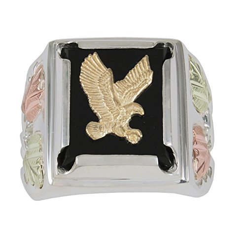 (Men's Eagle Onyx Ring, Sterling Silver, 12k Green and Rose Gold Black Hills Gold Motif, Size 9 )