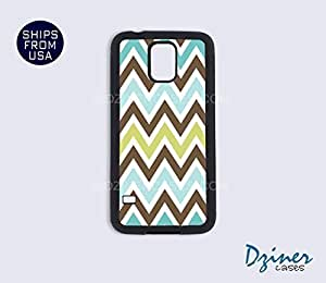 Galaxy S5 Heavy Duty Tough Case Cover - Blue Chocolate Chevron