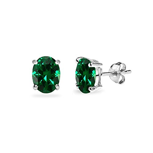 Sterling Simulated Oval Cut Solitaire Earrings product image