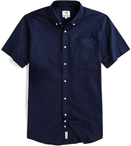 Mocotono Men's Short Sleeve Oxford Button Down Casual Shirt, Navy, Large