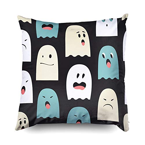 Shorping Christmas Zippered Pillow Covers Pillowcases 18X18 Inch Pattern Cute Ghosts Background Halloween Decorative Throw Pillow Cover,Pillow Cases Cushion Cover for Home Sofa Bedding -