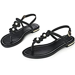 Foresightrade@ Women Summer Flower Flip-flop Sandals Slippers Flat Shoes Soft for Women Girl Plus Size (US7/EUR39, black)