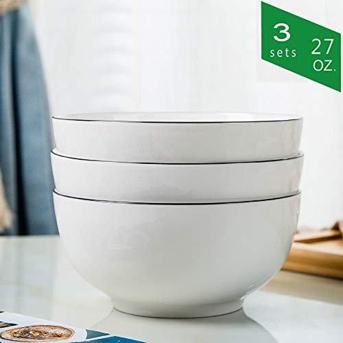 Cream Cereal Bowl - TGLBT 27-Ounce Porcelain Bowl Set for Soup/Cereal - 3 Packs, White
